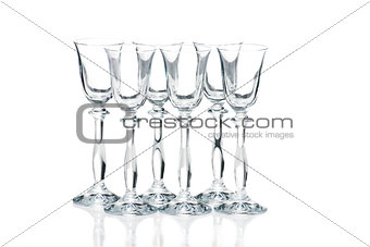 Empty glasses isolated on white background
