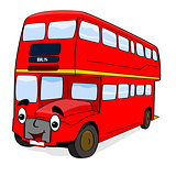 Happy cartoon bus