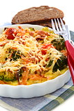 Casserole with vegetables and cheese.