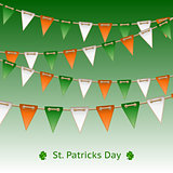 Patrick day card with flag garland.