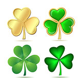 Set of clovers isolated on white. St. Patrick's day symbol.