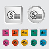 Icon coins. Vector illustration EPS.
