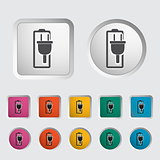 Charging the battery, single icon. Vector illustration.