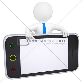 3d man points a finger at the screen smartphone