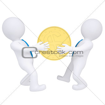 Two 3d people share money