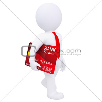 3d man carries a credit card
