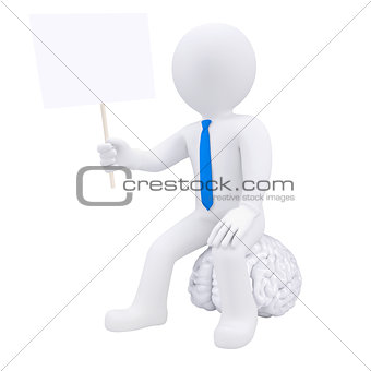 3d man sitting on the brain and holding a plate