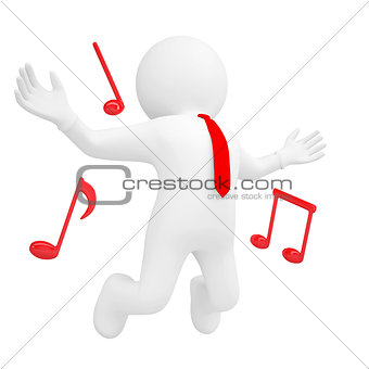 3d man jumping up and music sign