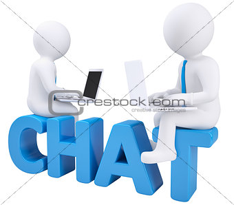 3d man sitting with a laptop on the word chat