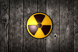 nuclear symbol on wood