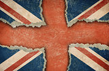 Ripped cardboard in form of British flag