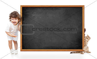 kid and cat with blank blackboard