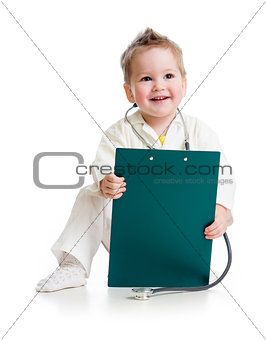 kid or child playing doctor with stethoscope and medical clipboa
