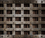 metal cage on wood background