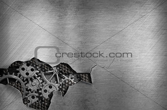 metal background with mechanical damage and visible gears of eng