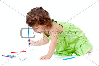 Little emotional girl with green pencil and big copyspace isolat