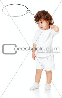 Curly pensive little girl isolated on white
