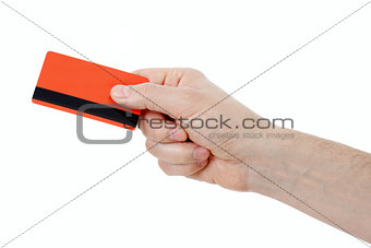 hand holding retail or credit card with magstripe