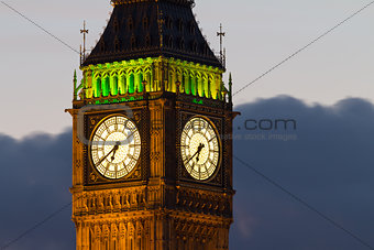 Big Ben. Detail. Evening