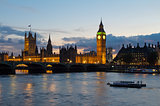 Cityscape of Big Ben and Westminster Bridge with river Thames. L
