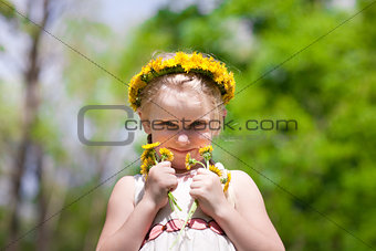small beauty with dandelions