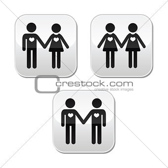 Man and woman, gay and lesbian couples vector buttons set