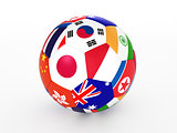 3d rendering of a soccer ball with flags of the Asian countries