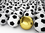 A gold football ball in many white football balls