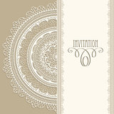 Vector Vintage Invitation with  Lacy Napkin