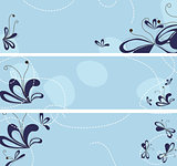 vector set of banners with abstract flowers