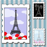vector set of postage stamps with paris