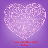 vector pink heart on lilac background