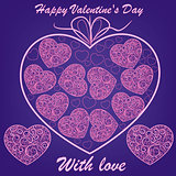 vector pink hearts on blue background