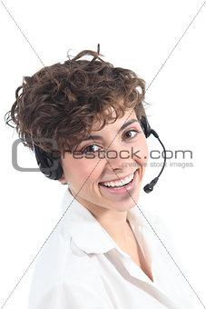 Beautiful and happy operator woman