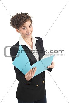 Beautiful and modern businesswoman reading a report