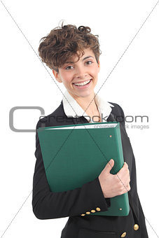 Beautiful and modern businesswoman holding a green folder