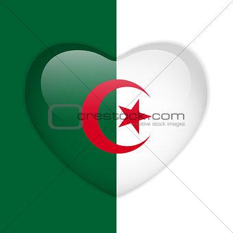 Algeria Flag Heart Glossy Button