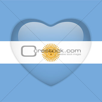 Argentina Flag Heart Glossy Button