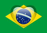 Brazil Flag Heart Glossy Button