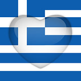 Greece Flag Heart Glossy Button