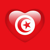 Tunisia Flag Heart Glossy Button