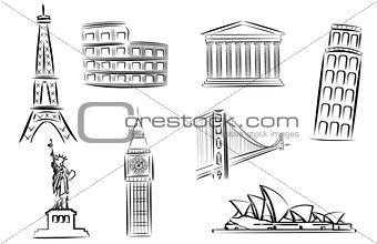 landmark vector illustrations