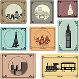 Vector set of silhouettes of cities in retro style
