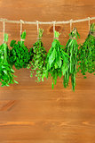 Fresh Herbs Collection is Hanging and Wooden texture