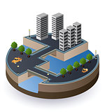Vector isometric view of the city