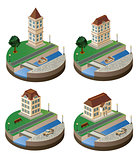 Set of vector elements of the urban landscape of isometric