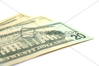 Dollars close-up on a white