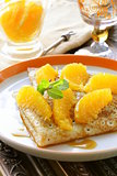 &quot;crpes suzette&quot; pancakes with orange and sweet sauce