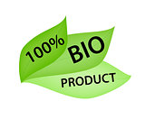 "Label composed from leafs and with tag ""100% BIO PRODUCT"""