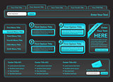 Template for website elements in light blue color and dark background